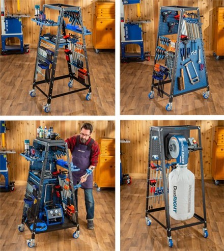 pack rack set up with clamps and dust collection