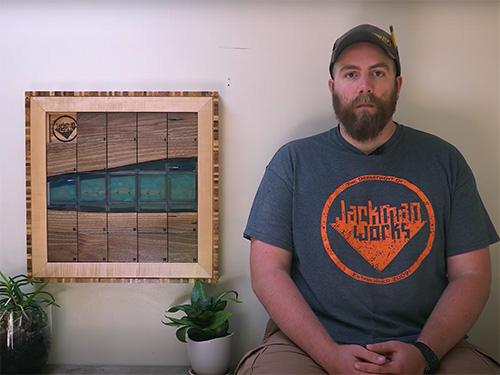 Paul Jackman and is pallet wood slide puzzle art