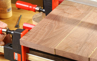clamps on wood panels