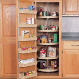 Large kitchen pantry cabinet with lazy susan shelving