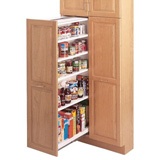 Slide out under-cabinet style pantry storage
