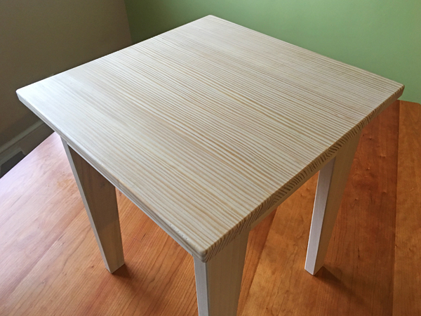 Small table with a pine lumber tabletop