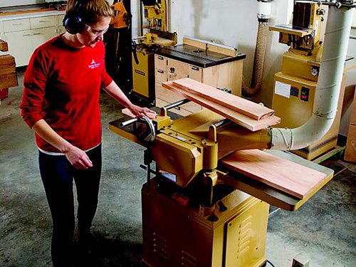 Using a planer to flatten a grouping of boards
