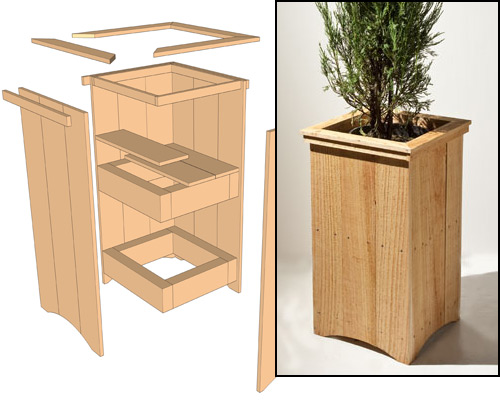 Cedar planter project and exploded view drawing