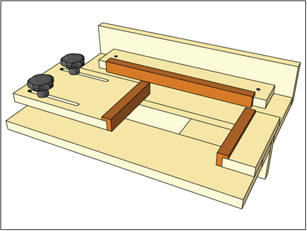 Drawing of a plunge router jig