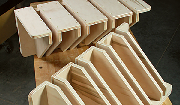 Clamp storage racks made from a single piece of plywood