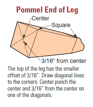Diagram of the end of a cabriole leg