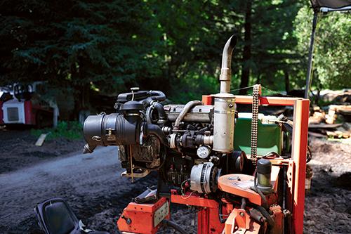 4-cylinder diesel saw mill engine