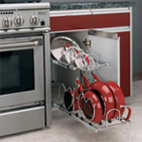 Under-counter storage rack for kitchen pots and pans