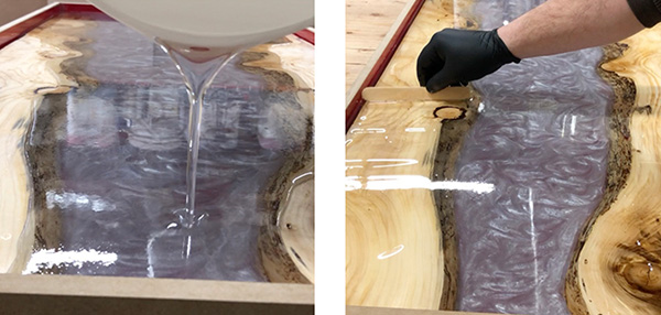 Pouring and spreading Deep Pour Epoxy in mold