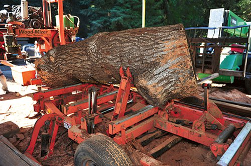Rotating log in band saw mill to make second cuts