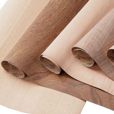 Sheets of adhesive wood veneer