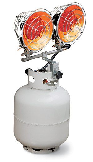Heater mounted on a propane tank