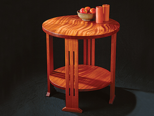 Table made from quarter-sawn mahogany wood with ribbon figuring
