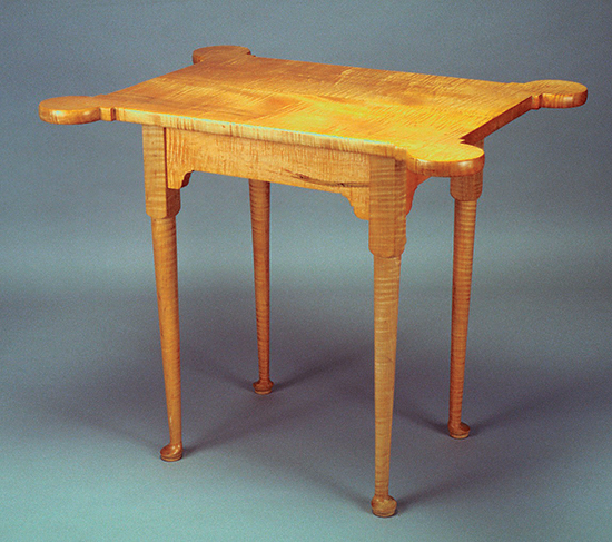 Replica Queen Anne porringer table made with cabriole legs