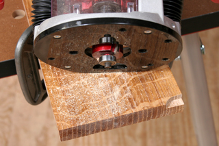 Routed rabbet cut on frame