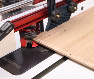 Raised panel router bit and insert installed on router table