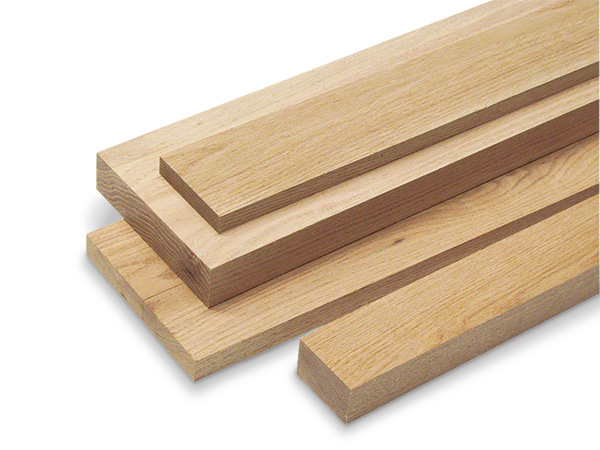 Selection of different thickness and sizes of red oak lumber