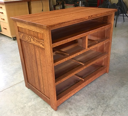 Refinished pine television stand