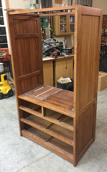 Pine cabinet set up to be refinished