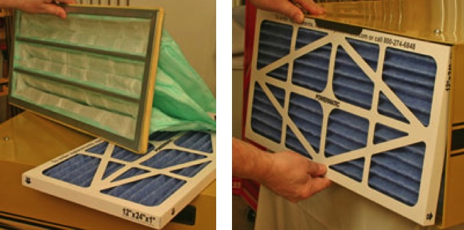 Replacing two part air filters in powermatic filtration system
