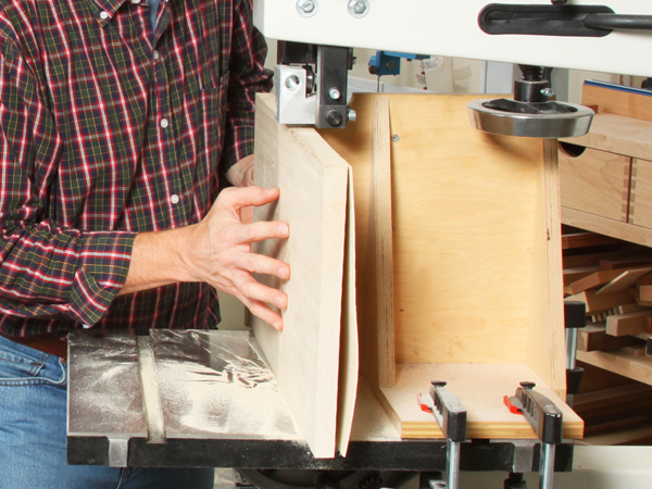 Sawing thin panels using a band saw