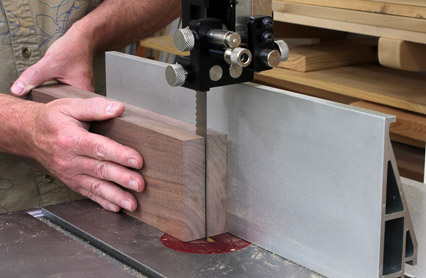 Using a band saw to split stock for continuous grain box