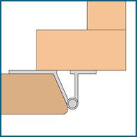 Diagram of a reverse bevel hinge
