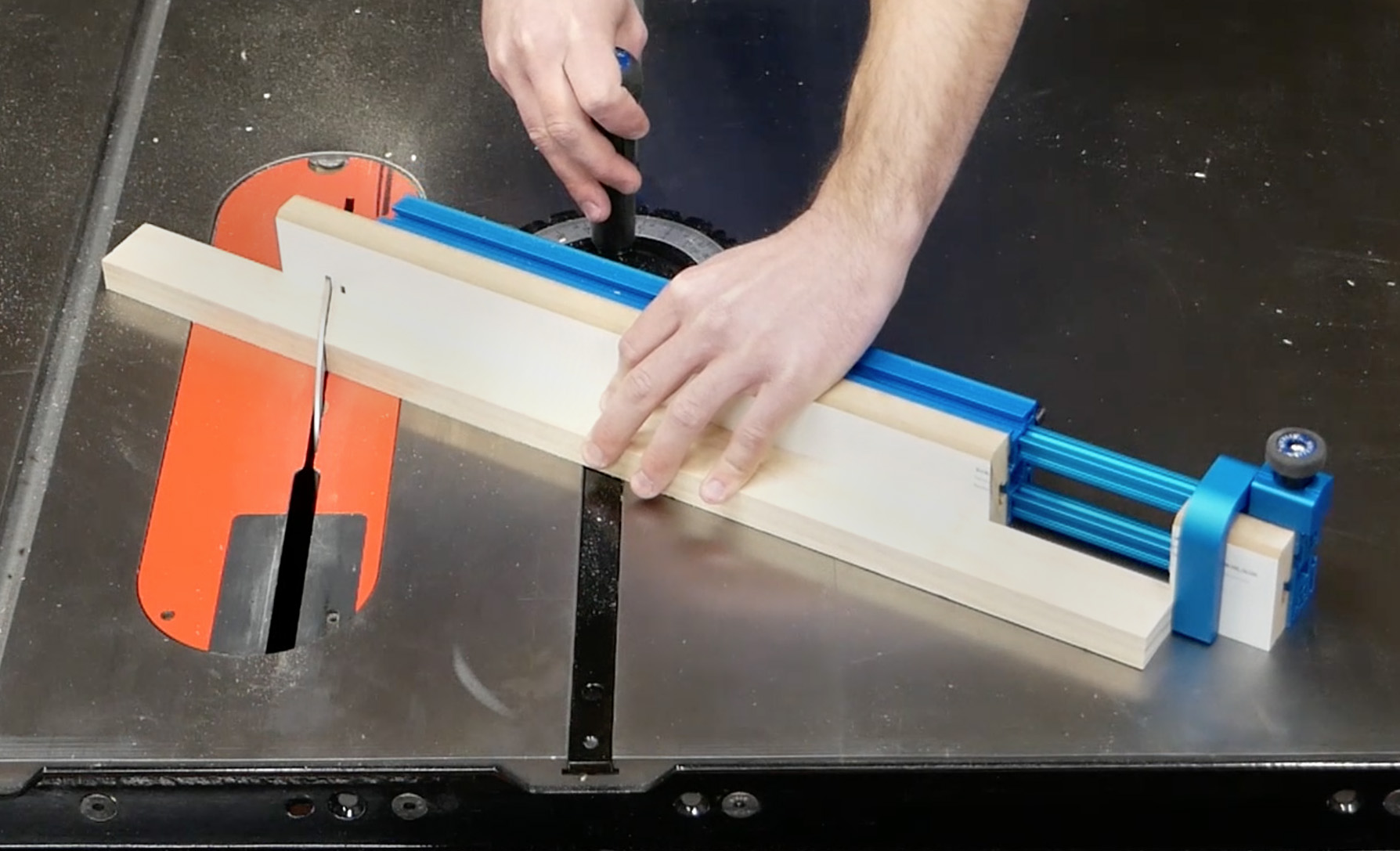 Rockler's miter gauge set up on a table saw