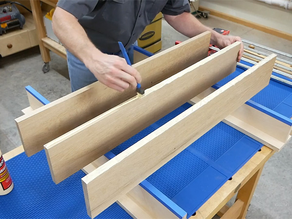 gluing up a workpiece on top of silicone workbench mat