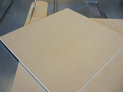 Rotate panel on table saw to make rough circle cut