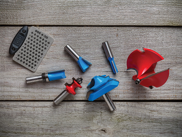 Array of different size and make router bits with a diamond sharpening tool