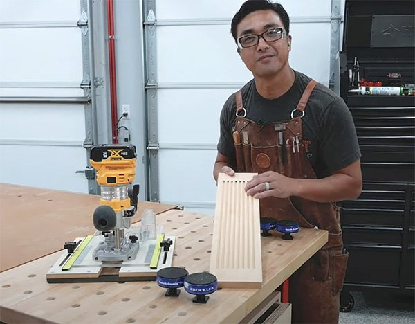 Huy Huynh and fluting jig