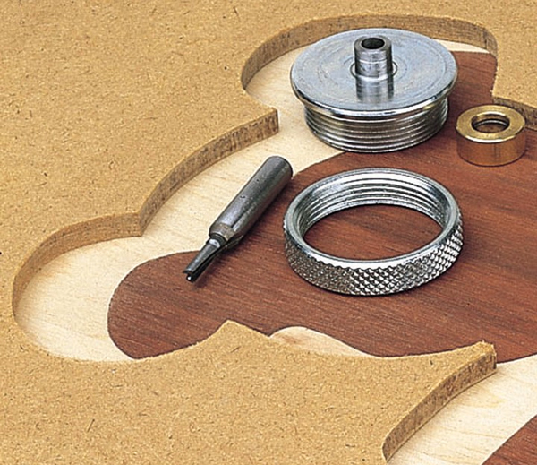 Parts of a router inlaying kit