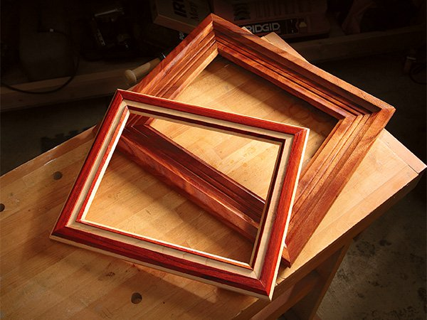 Picture frames cut with a router