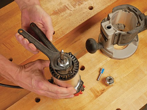 wood router motor showing collet