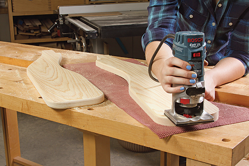 Routing the sharp edges of adirondack chair parts