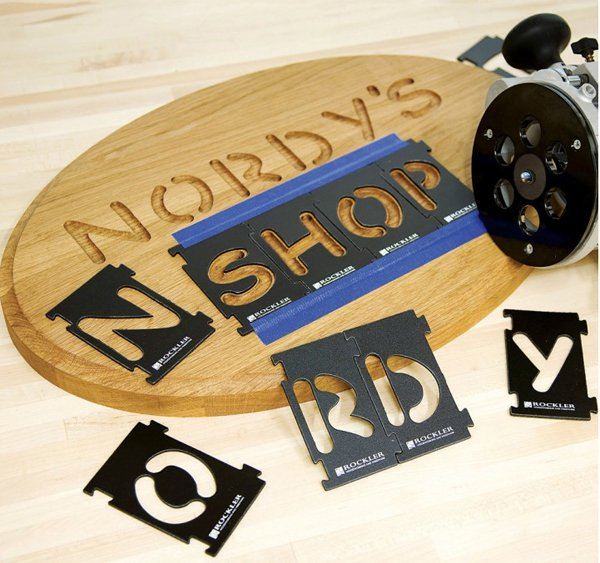 Sign made with letter templates and an inlay kit