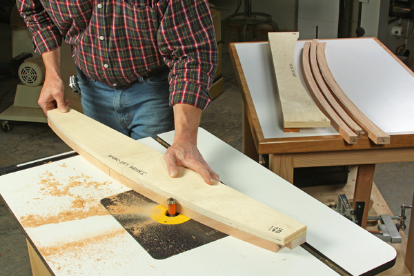 Using a plywood template to route furniture parts