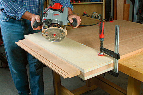 Routing shoulder tenons in outdoor storage box lid