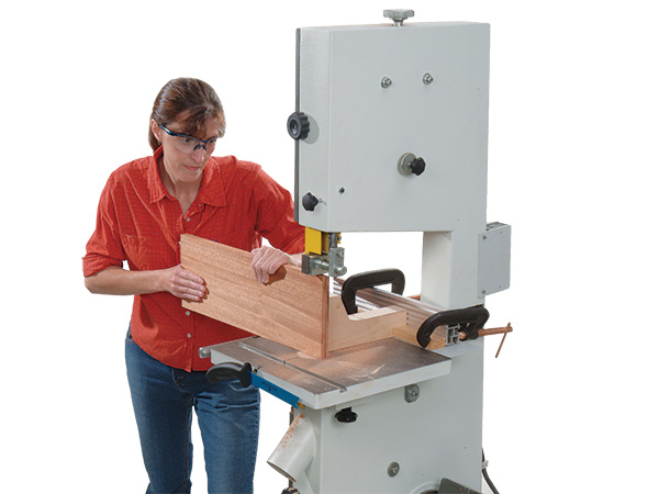 Resawing a panel into two parts with a band saw