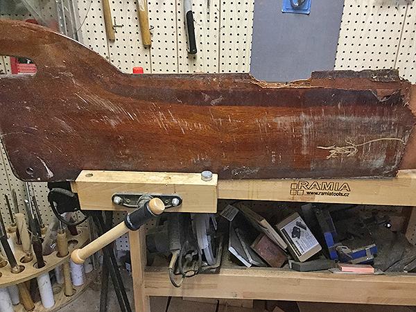 Rock damaged plywood sailboat centerboard