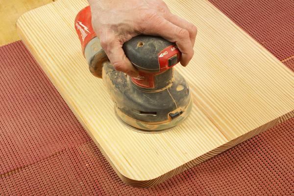 Using random orbit sander to flatten pine cutting board