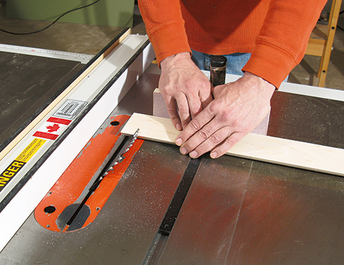 Making frame for drilling jig at a table saw