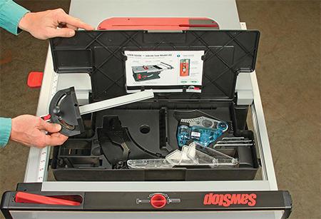 Storage drawer in Sawstop jobsite saw