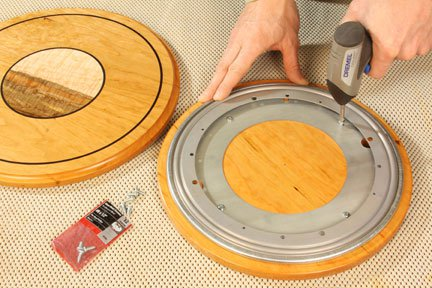 Attaching lazy susan mechanism to the wooden base