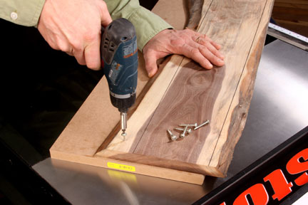 Screwing natural edged lumber into a carrier board