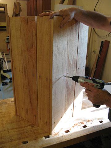 Assembling side panels for cedar planter
