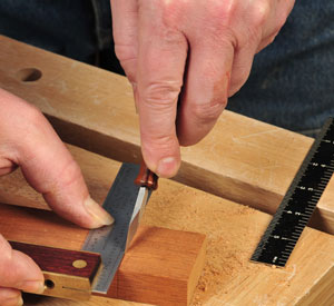 Using square and knife to layout tenon cuts