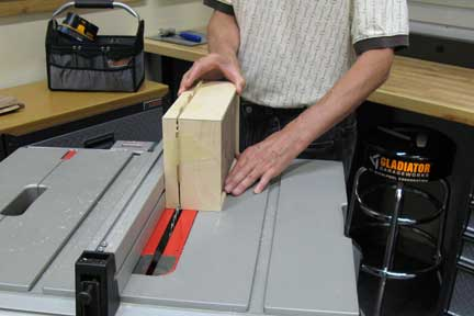 Making final table saw cut for box lid